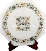 """14"""" Marble Top Coffee Table Mother of Pearl Paua Shell Floral Inlay Decors W504"""