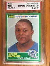 BARRY SANDERS 1989 SCORE FOOTBALL #257  KSA 9  ROOKIE RC