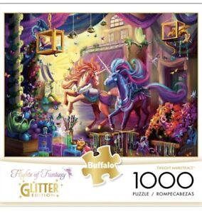 Buffalo Games UNICORNS Twilight Marketplace Jigsaw 1000pc Glitter Ed - US Import