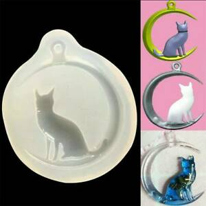 Cat Moon Silicone Mold Resin Epoxy Jewelry Pendant Making Mould DIY Craft Tool