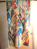 Pure crepe de chine long silk scarf Print of Kandinsky Composition IV   NEW