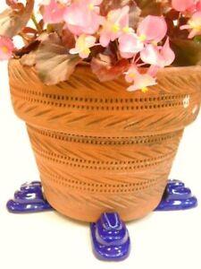 "POT FEET Ceramic Flower Planter Risers ""Tier"" Design Cobalt  Royal Blue set of 4"