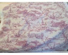 The Hunt, Country Pictorial Toile De Jouy Curtain Fabric In Raspberry & Cream