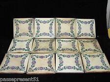 12 jolis anciens carreau de faience, Gien, 11,2 cm x 11,2 cm pièce