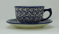 Bunzlauer Keramik Tasse F036 mit Unterteller Dekor P364 - blau/weiß - 0,3Liter
