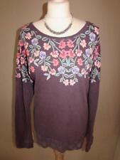 MARKS & SPENCER Ladies Purple Floral Cotton Top Thin Jumper Lace Trim Size 18