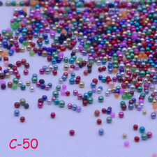 12g Glass Micro Beads No Hole 0.6-1mm Nail Art Caviar Marbles Microbead mixed