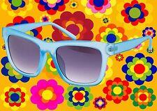 A558✪60er 70er Jahre Festival Sonnenbrille Schlager Hornbrille blau
