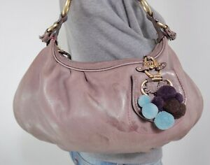 JUICY COUTURE Medium Taupe Leather Shoulder Hobo Tote Satchel Purse Bag