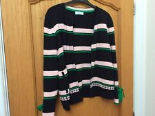 PER UNA (Marks & Spencer) Cotton Black, Green, Pink Striped Cardigan - Size 12