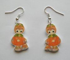 New Precious Moments Fall  Pumpkin Girl Trick or Treat bag Earrings