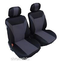 UNIVERSAL FRONT GREY BLACK FABRIC SEAT COVERS CAR VAN MOTORHOME BUS MPV TRUCK