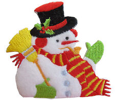 """#3160 3"""" Snowman Embroidery Iron On Applique Patch"""
