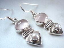 Cultured Pearl Rose Quartz Sterling Silver Dangle Earrings Corona Sun Jewelry