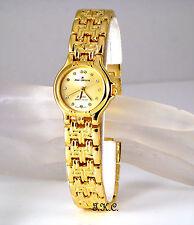 18 K oro plateado diseño de ladrillo Deco Chic Ladies Watch C / Cristales Swarovski, Gemas