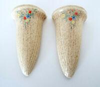 """Vintage Weller Conical Wall Pockets 6"""" Pair Floral Art Deco Nouveau Estate Lot"""