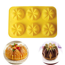 6 cavity Crown Silicone Swirl Bundt Cake Pan Bread Chocolate Bakeware Mold Tool
