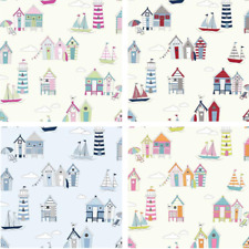 100% Cotton Fabric Lifestyle Beach Huts Lighthouses Sailing Boats 140cm Wide