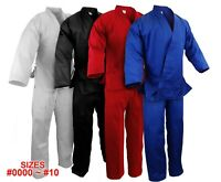 New Martial Arts Karate 7.5 oz Gi Uniform w/White Belt WH/BK/RED/BLUE, #0000~#10
