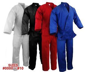 New Martial Arts Karate 7.5 oz Gi Uniform w/White Belt WH/BK/RED/BLUE, #0000~#10
