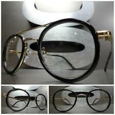 Men or Women CLASSIC 60s VINTAGE Style Clear Lens EYE GLASSES Black & Gold Frame