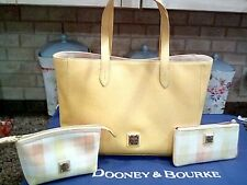 dooney and bourke Saffianio leather tote/ pouch / make-up case in yellow