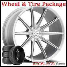 """20"""" BLAQUE DIAMOND BD11 CONCAVE SILVER WHEELS AND TIRES FITS NISSAN 350Z 370Z"""