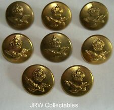 """Set 8x RAF:""""ROYAL AIR FORCE BRASS GREATCOAT BUTTONS"""" (Large, 23mm, Firmins)"""