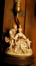 Antique DRESDEN PORCELAIN FIGURINE Germany Table Lamp Brass Base HAND PAINTED