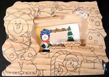 New! Ready To Paint Wood Snowman Photo Frame Penguin Christmas Holiday Crafts