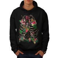 Wellcoda Skull Flower Mens Hoodie, Festival Casual Hooded Sweatshirt