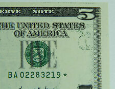 1999 $5 Partial Back To Face Offset Star Error Note