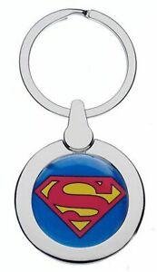 SUPERMAN LOGO CREST CHROME METAL POLISHED SILVER COLOUR KEYRING