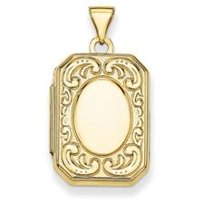 Rectangle Locket 30mm X 16mm 14k 14kt Yellow Solid Gold