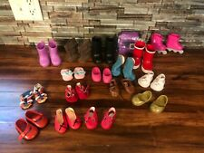 "17 Pair 18"" Doll Shoes Lot Pink Red Black White Boots Dress Fun"