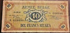 Belgium 10 Franc frank Belge 1946, Armée Belge Army Belgisch leger Belgïe Type A