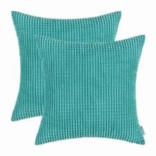 2pcs CaliTime Turquoise Cushion Cover Pillow Shell Corduroy Corn Striped 55x55cm