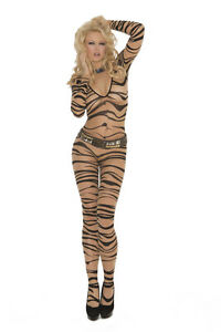 Wild Zebra Animal Print Bodystocking Open Crotch Plus & Reg Adult Woman Costume!
