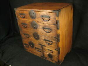 ANTIQUE JAPANESE 6 DRAWER  KIRI WOOD (PAULOWNIA) KO-DANSU PERSONAL TANSU CHEST