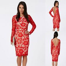 Sz M 10 12 Red Lace Long Sleeve Formal Prom Cocktail Party Club Slim Midi Dress
