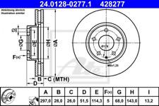 2x Bremsscheibe für Bremsanlage Vorderachse ATE 24.0128-0277.1