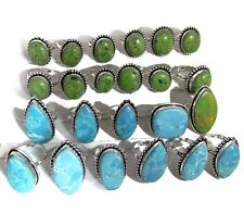 50 PCs. Lot !! NATURAL LARIMAR & Green TURQUOISE 925 Sterling Silver Plated Ring