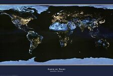 WORLD MAP POSTER Earth by Night RARE HOT NEW 24X36 - PRINT IMAGE PHOTO -E10