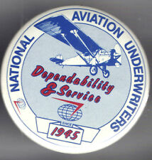 1945 AVIATION pin National UNDERWRITERS pinback INSURANCE Premium button