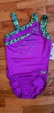 NWT GK Elite Gymnastics Adult Small Leotard Purple Neon Green Sequins
