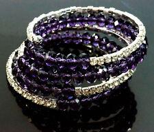 Stretch Bracklects Purple Beads Rhinestone Diamante Bridal Wedding Party 5 Rows