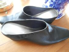Liz Claiborne , Ladies,Shoes,  Slides, Black leather, size 9.5 (M,B)