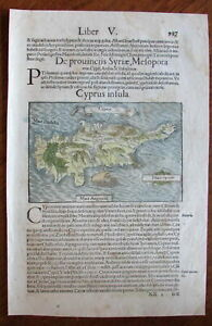 Cyprus island 1550 by S. Munster wood cut map old hand color charming