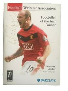 Rare - Signed Wayne Rooney Football Writers POTY Dinner Prog/Menu from 13/5/10.