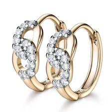 US Lucky Girls Multi-Tone Gold Filled Jewelry Hoop Earrings Wedding Topaz Gifts